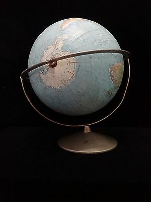 "Vintage Replogle Land And Sea 12"" Globe Raised Relief  PIVOTAL"