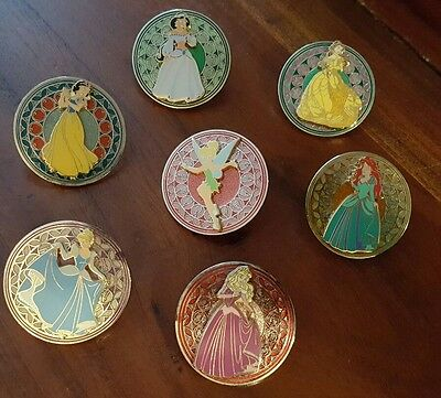 Disney Pin WDW Stained Glass Princess Series Set of 7 Ariel Bell Jasmine Aurora
