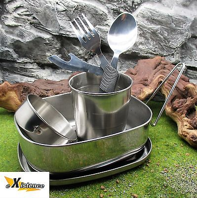3 PIECE COMPACT STEEL DINNER UTENSIL SET camping hiking bushcraft survival kit