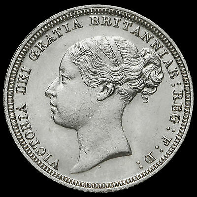 1881 Queen Victoria Young Head Silver Sixpence, Scarce, A/UNC