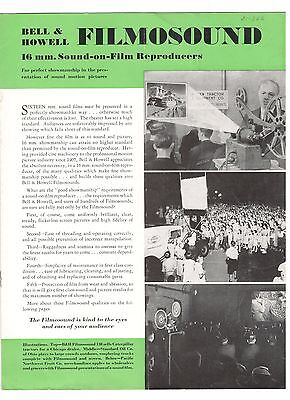 Photography Advertising  Bell & Howell Filmosound  16Mm Reproducer 1937  7 Pages