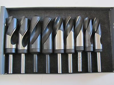 "Set of 9 HSS 1-3/8"",1-11/32"",1-5/16"",1-9/32"",....High Speed Drill Bit 1/2"" Shank"