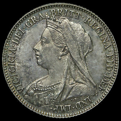 1897 Queen Victoria Veiled Head Silver Sixpence, UNC