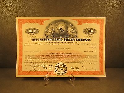 1973 The International Silver Co. Stock Certificate - FREE SHIPPING