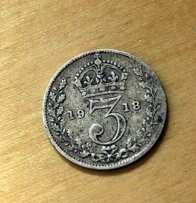 1918 Great Britain 3 Pence Silver