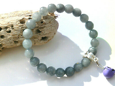 8mm FACETED AQUAMARINE GEMSTONE BEADED STRETCH CHARM BRACELETS IN MIXED SIZES