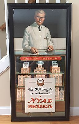 RARE Vintage 1920's NYAL Products Pharmacy Drug Store Advertising Sign 42x22