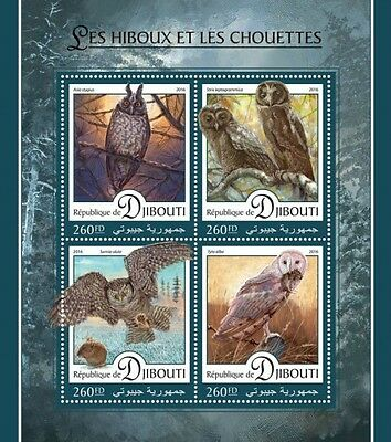 Z08 IMPERFORATED DJB16404a DJIBOUTI 2016 Owls MNH