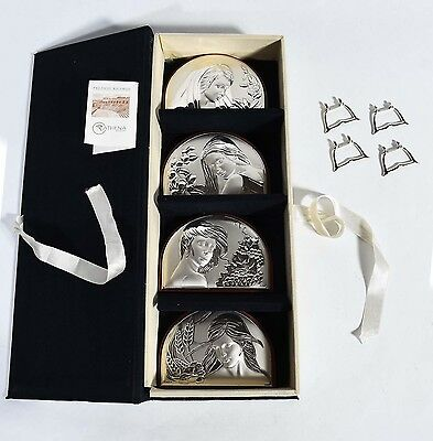 Italian Boxed Set - 4 Seasons -  Sterling Silver Plaques - Embossed w/ Maidens