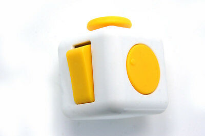 Fidget Cube Anxiety Stress Relief Focus 6-side Adult Child Fun Toy Gift- Yellow