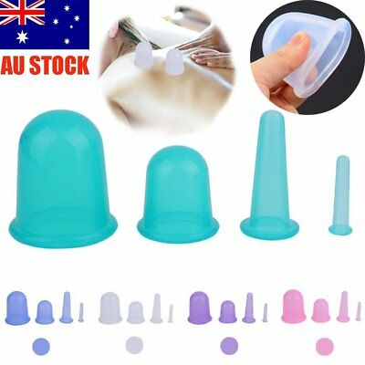 4Pcs/set Health Care Body Anti Cellulite Silicone Vacuum Massager Cupping Cup UF