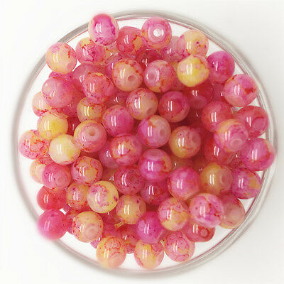 NEW 100PCS 4mm Glass Round Pearl Spacer Loose Beads Pattern Jewelry Making 25