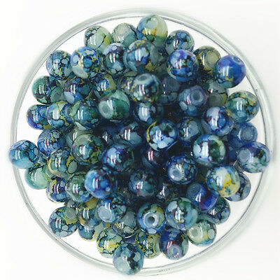 NEW 100PCS 4mm Glass Round Pearl Spacer Loose Beads Pattern Jewelry Making 23
