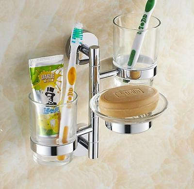 Bathroom Brass Toothbrush Toothpaste Holder Wall Mount Two Glass Cups+Soap Dish