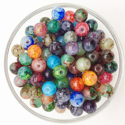 NEW 50PCS 6mm Glass Round Pearl Spacer Loose Beads Pattern Jewelry Making 40