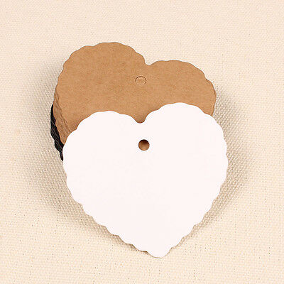 50X Heart Kraft Paper Label Wedding Christmas Party Gift Card Price Luggage Tag