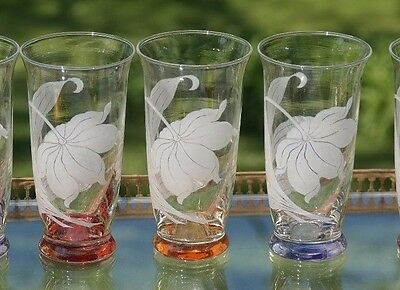 Vintage Floral Etched Cocktail Liquor Whiskey Highball Glasses with Gold Caddy