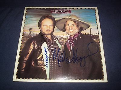 """Willie Nelson + Merle Haggard Signed Album Titled """"Poncho And Lefty"""" Rare! L@@K!"""