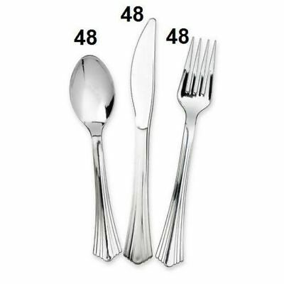 144 x Disposable Metallic Silver Cutlery Set Plastic Spoons Forks Knives Party