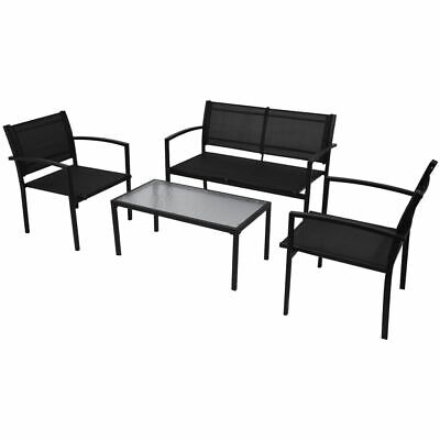 Four Piece Outdoor Patio Garden Furniture Set Coffee Table Chair Bench Black