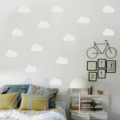 Set of 120 Cute Mini Cloud Wall Stickers Vinyl Decal Art Nursery Bedroom Decor