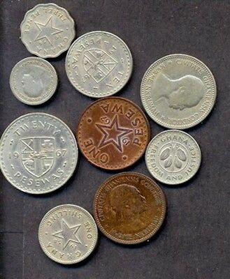 9 Ghana Different Coins, Different Years,