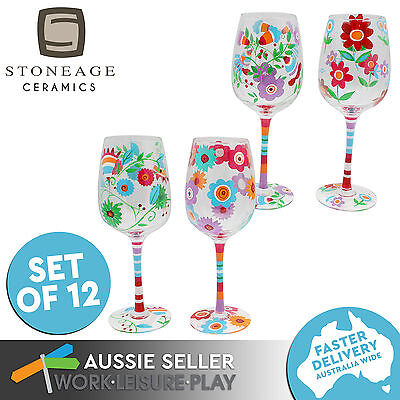 Set of 12 Stoneage Ceramics Funky Tall Wine Glass Dance Hexagonal