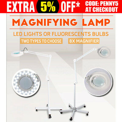 Magnifying Lamp Glass Lens 36LED/Fluorescents Bulbs Light Magnifier 8x On Stand