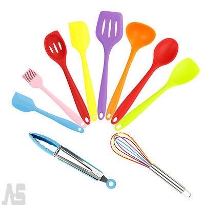 Set 10pcs Kitchen Cooking Silicone Utensils Non-Stick Baking Tool Heat Resistant