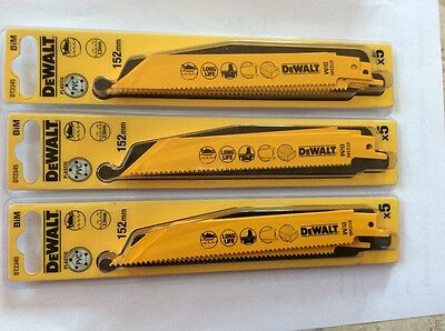 15 X DeWalt DT2345QZ Reciprocating Blades Cordless - General Purpose - 152mm