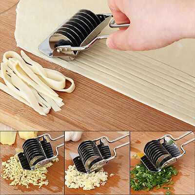 Stainless Steel Spaghetti Noodle Maker Dough Lattice Roller Cutter Kitchen Tools