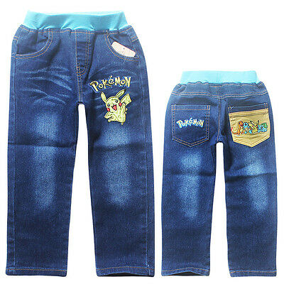 Kids Boys Girls Denim Jeans Pants Casual Party Holiday Cartoon Trousers 3-10Y