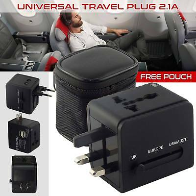 Universal 2 Ports USB Multi Adapter Travel Wall AC Charger with UK/EU/US/AU Plug