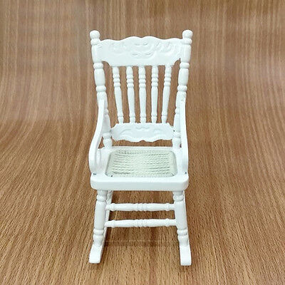 White Wood Rocking Chair for 1:12 Doll House Miniature Living Room Decor Tool