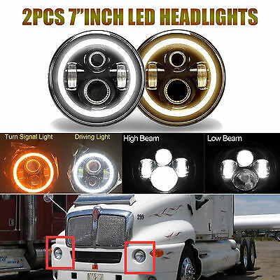 2Pcs 7inch LED Round Headlight H4 H13 Hi/Lo Beam DRL Lamp Fit For Kenworth T2000
