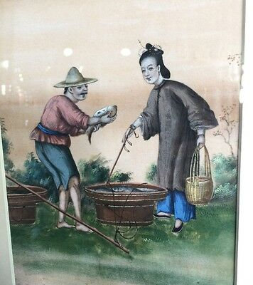 Chinese rice paper painting, Fish seller, earlier 19th century