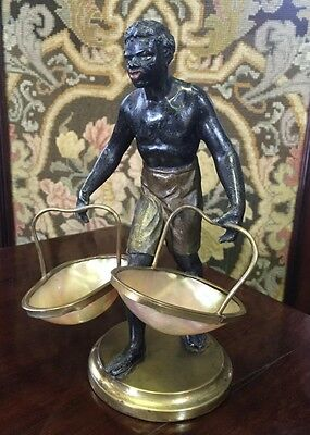 Blackamoor sweetmeat figure of a man holding baskets formed in mother of pearl,