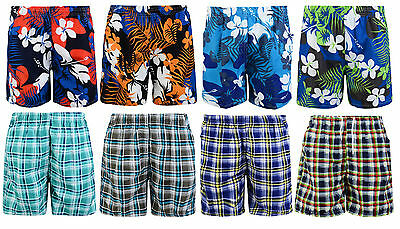 Boys Swimming Shorts Check Floral Swimwear Mesh Lined 2-12 Years Bnwt