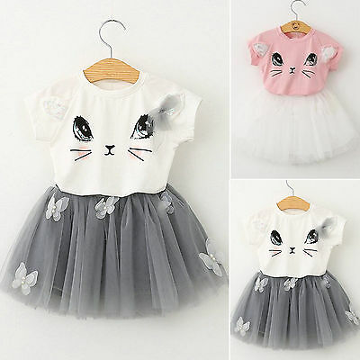 Toddler Kids Baby Girls Outfits Clothes T-shirt Tops Tutu Dress Skirts 2PCS Sets