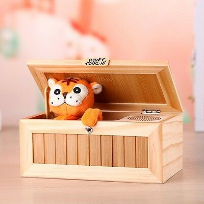 Wooden Useless Box Leave Me Alone Box Machine Sound Don't Touch Tiger Gift Toy Z