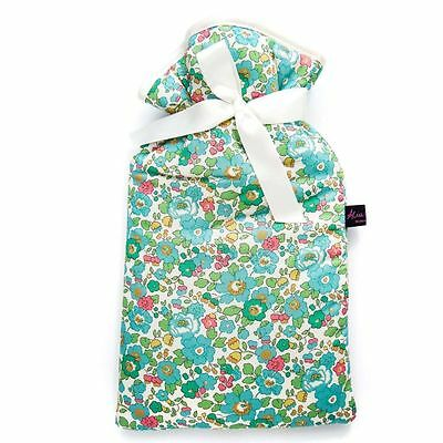 Famous Liberty London Fabric Betsy Turquoise Print Padded 2L Hot Water Bottle