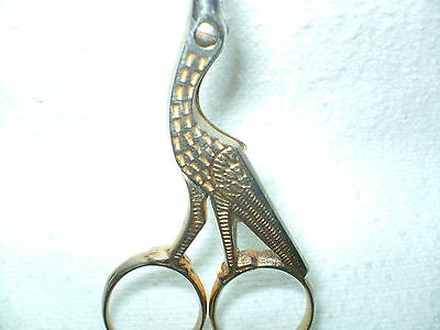 "STORK Vtg SCISSORS Bird 4"" Marked ITALY Precise Perfect For Sewing Gold USED"