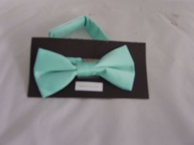 Mint Green Polyester BOYS Ready Pre-tied Bow tie > 60 Colours Available in Shop