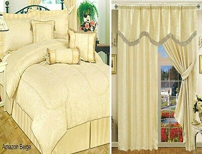 Curtains Jacquard Available Matching 7 Pieces Bedspread Comforter Amazon Beige