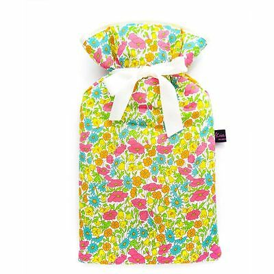 Famous Liberty London Fabric Poppy And Daisy Print Padded 2L Hot Water Bottle