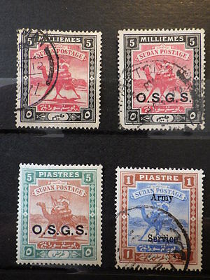 4x Timbres Stamps SOUDAN EGYPTIEN SUDAN (OSGS) 1898-1905 *