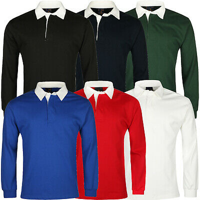 New Mens Rugby Shirt Premium Long Sleeve Cotton Casual Regular Fit Jumper Top