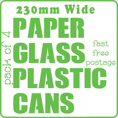 Recycling Stickers Recycle Labels Large Size Pack of 4 Wheelie Bin Waterproof