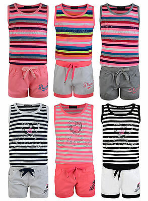 Girls Vest Shorts 2 Piece Outfit Set Lucky Diamond Vest Top Hot Pants Bnwt