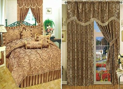 7Pcs Comforter Curtain Pair Jacquard Pelmet Separately Matching Amazon Chocolate